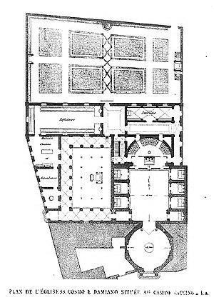 Santi Cosma e Damiano - Plan of the Basilica and Monastery