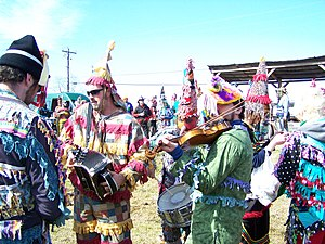 Cajuns - Musicians playing at a traditional Courir de Mardi Gras
