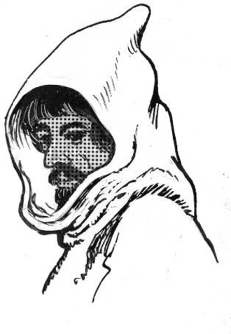 Cowl - Drawing showing a hooded monk