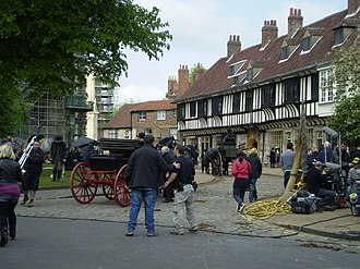 Crusoe (TV series) - Crusoe filming at College Street, York