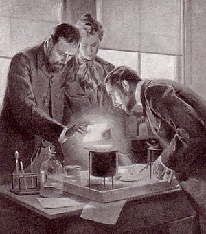Radium - Marie and Pierre Curie experimenting with radium, a drawing by André Castaigne