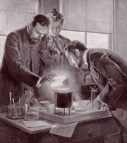 Marie and Pierre Curie experimenting with radium, a drawing by André Castaigne Curie and radium by Castaigne.jpg