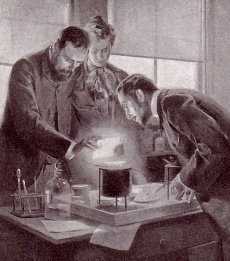 Curie experimenting with radium