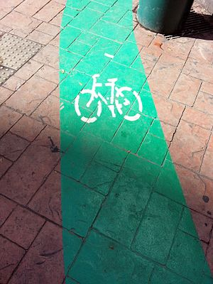 Cycling in Penang Island - Another cycling route near Komtar, George Town, painted in green.