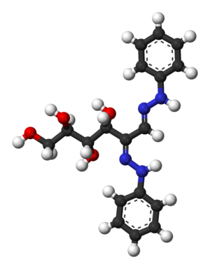 Osazone - Ball-and-stick model of glucose osazone
