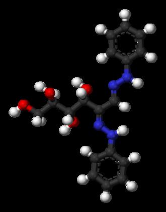 Osazone - Ball-and-stick model of glucose osazone