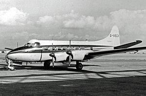 Ferranti - De Havilland Heron operated from Manchester Airport 1962–1970 as an executive transport, particularly between the factories in Lancashire and Scotland. The company name is on the lower fin.