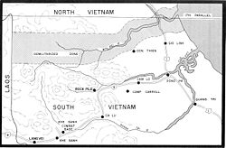 Map of the demilitarized zone between North and South Vietnam