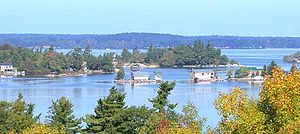 Several of the thousand islands viewed from Ne...