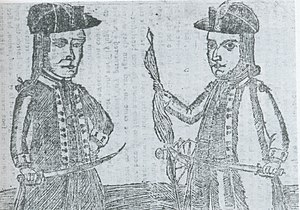 History of Springfield, Massachusetts - Engraving – there are no portraits – depicting Daniel Shays (left) and Job Shattuck of Shays' Rebellion.