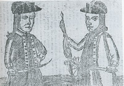 Engraving of Daniel Shays and Job Shattuck, leaders of Shay's rebellion.