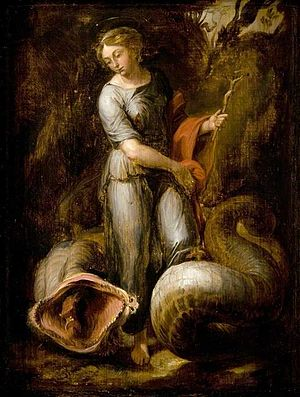 St Margaret and the Dragon (Raphael) - Image: David Teniers after Raphael St Margaret and the Dragon GL GM 37