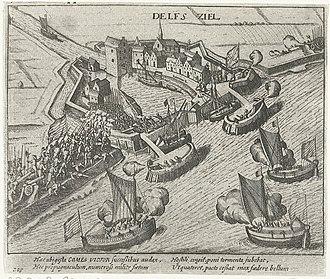 Capture of Delfzijl - Siege of Delfzijl July 1591; from the workshop of Frans Hogenberg