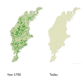 Decrease in wooded hay meadows on Gotland from 40 000 ha to 350 ha.png
