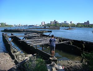 Coney Island Creek - Burnt, sunken barges in Gravesend Bay mouth of the creek