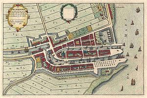 Delfshaven - Delfshaven, in Joan Blaeu's collection Tooneel der Steeden, 1649