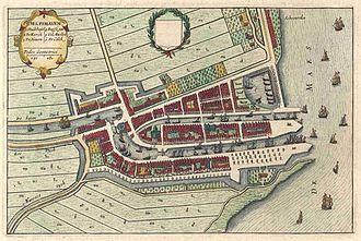 Delfshaven - Delfshaven, in Joan Blaeu's collection Tooneel der Steeden, 1649