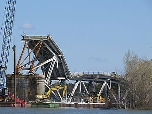 Champlain Bridge (United States) - The demolished Champlain Bridge, April 2010.