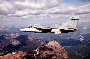 General Dynamics–Grumman EF-111A Raven - An EF-111 flies over the Alps during Operation Deny Flight