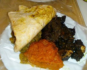 Caribbean cuisine - Dhalpurie Roti, Pumpkin, Channa and Potato, Curry Goat, Trinidad and Tobago