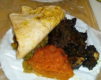 Caribbean cuisine - Dhalpurie Roti, Pumpkin, Channa and Potato, Curry Goat, Trinidad and Tobago