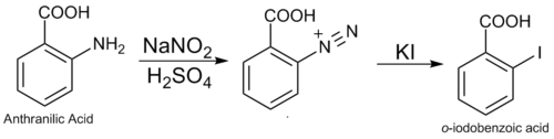 Diazo replacement of anthranilic acid.