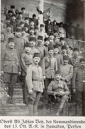 Persian Campaign - The commander of the XIII Corps Ali İhsan Bey and his men (Hamedan)