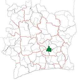 Location in Ivory Coast. Dimbokro Department has had these boundaries since 1998.