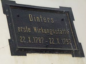 Kitzscher - Plaque on the church school in memory of Dinter