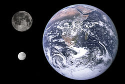 Dione, Earth & Moon size comparison