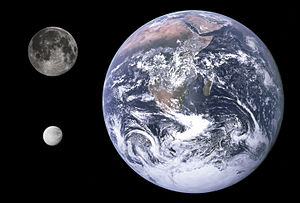 Dione (moon) - Size comparison of Earth, the Moon, and Dione.