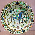 Dish with a riderless horse, Turkey, Iznik, Ottoman dynasty, early 17th century, painted and glazed stonepaste - Royal Ontario Museum - DSC04591.JPG