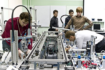 Students in a laboratory, Saint Petersburg State Polytechnical University Distributed Intelligent Systems Department laboratory.jpg