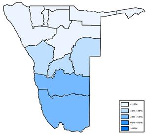 Разпространение на африканс в Намибия (по региони)