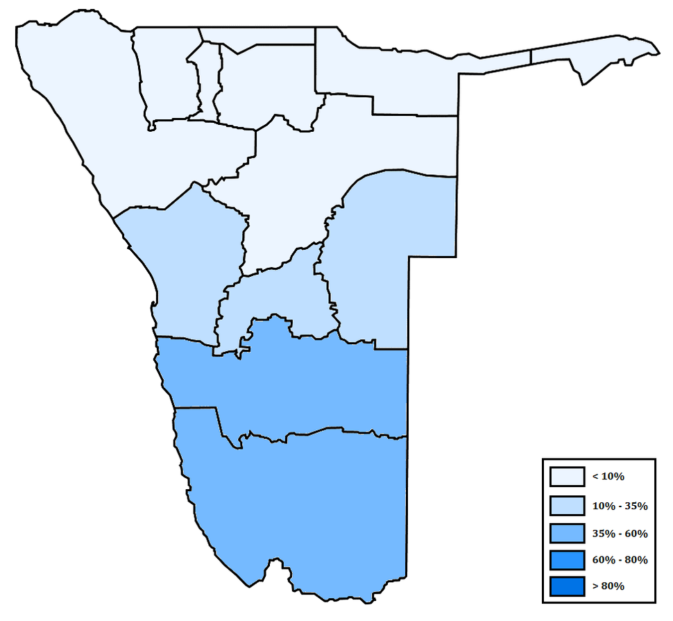 Distribution of Afrikaans in Namibia