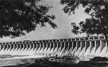The DneproGES, one of many hydroelectric power stations in the Soviet Union DneproGES 1947.JPG