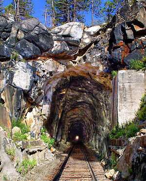 Donner Pass - Summit Tunnel, West Portal (Composite image with the tracks removed in 1993 digitally restored)