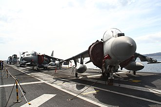 Spanish ship Juan Carlos I - Attack aircraft Harrier II and helicopters on board