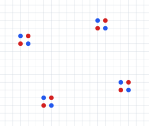 Dots (game) - Initial positions that are commonly used (from left to right): cross, double cross, four crosses (only center of the board is shown)