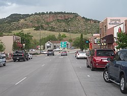 Downtown Lyons toward the intersection of U.S. Route 36 and Colorado State Highway 7.