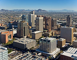 Aerial view of Downtown Phoenix, looking northeast