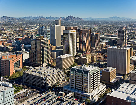 Central Avenue Corridor from Madison St. looking northeast Downtown Phoenix Aerial Looking Northeast.jpg