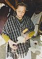 Dressed female carding wool iron age.jpg