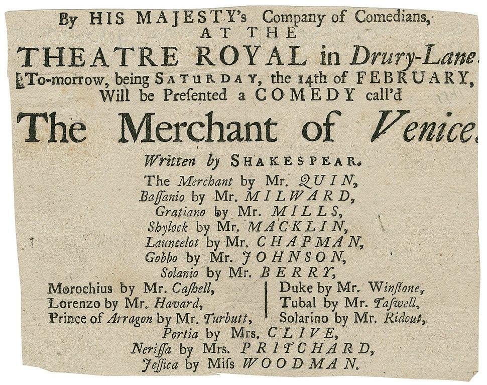 Drury Lane Playbill of the Merchant of Venice