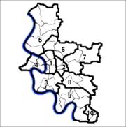 Karte der Stadtbezirke von Düsseldorf.