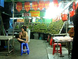 Agriculture in Singapore - A durian stall in Singapore.