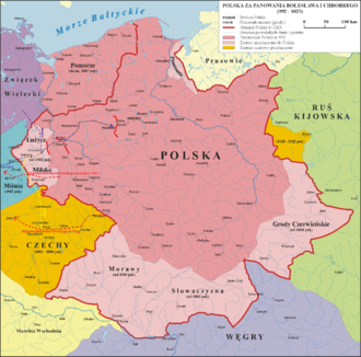 Kingdom of Poland (1025–1385) - Widest span of the Kingdom of Poland before the Polish-Lithuanian Commonwealth, during the years of conquest in 1002-1005.