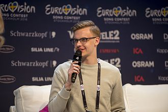 Estonia in the Eurovision Song Contest 2016 - Jüri Pootsmann during a press meet and greet