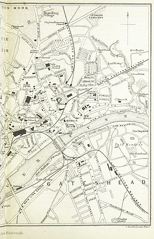Newcastle New Bridge Street railway station - Map from 1884, showing the location of the station (upper centre)
