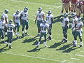 Eagles in huddle at Philadelphia at SF 10-12-08 1.JPG